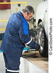 roue, auto, travail, alignement, mécanicien