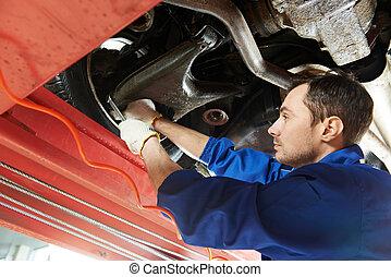 roue, auto, travail, mécanicien, clé, alignement