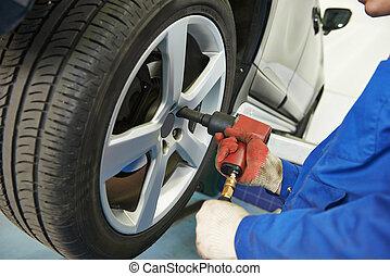 roue, auto, visser, mécanicien, voiture