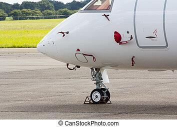 roue, avion, nez, jet