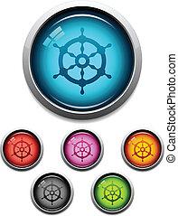 roue, bateau, bouton, icône