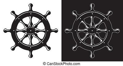 roue, bateau, direction