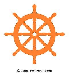 roue, bateau, isolé