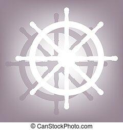 roue, bateau, ombre, icône
