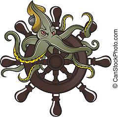 roue, bateau, poulpe, direction