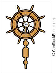 roue, bateau, vecteur, -, contrôleur