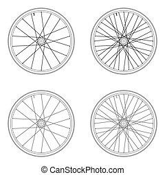 roue, bicyclette a parlé, 4x, couleur, modèle, isolé, noir, tangential, fond, laçage, blanc