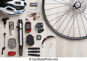 roue bicyclette, arrière-plan., siège, image, tire., bois, objets, barre, casque