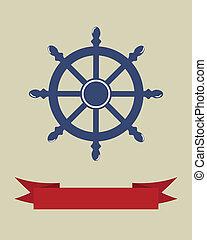 roue, blanc, isolé, bateau, direction