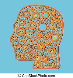 roue, bleu, différent, contour, variété, tête, vecteur, fond, orange, icône, engrenage