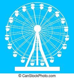 roue, bleu, silhouette, coloré, atraktsion, illustration, ferris, fond