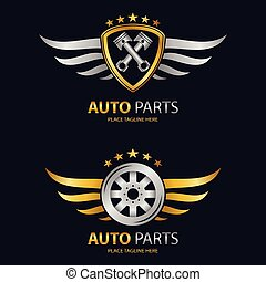 roue, bouclier, ailé, auto, arrière-plan noir, icône
