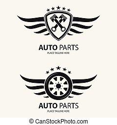 roue, bouclier, ailé, auto, fond, blanc, icône