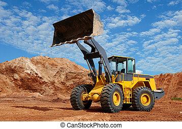 roue, bulldozer, sandpit, chargeur