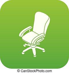 roue, bureau, vecteur, chaise verte, icône