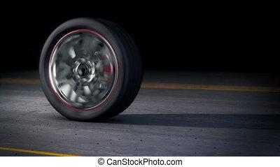 roue, burnout, boucle