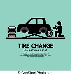 roue, changer, tire., automobile