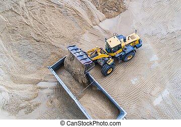 roue, chargement, chargeur, sable, camion, dumper