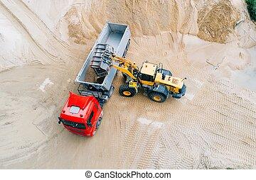 roue, chargement, jaune, chargeur, sable, camion, dumper