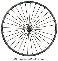 roue, chariot, fond blanc, contre