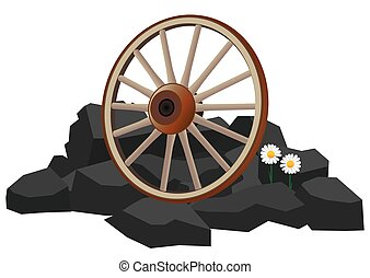 roue, chariot, rochers