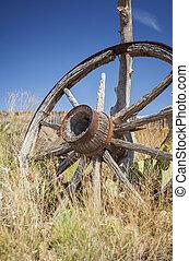 roue, chariot, vieux