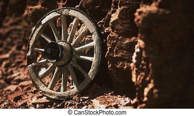 roue, charrette, pierre, vieux, bois, rochers