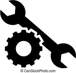 roue, clé, engrenage