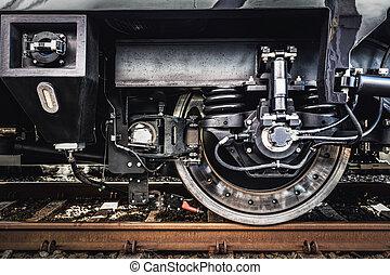 roue, close-up., industrie, train, ferroviaire