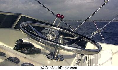 roue, closeup, bateau pêche, direction
