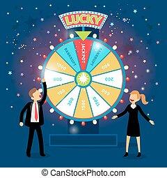 roue, concept, financier, professionnels, fortune., jeux & paris