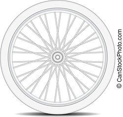 roue, conception, blanc, vélo, ombre