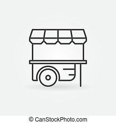 roue, contour, mobile, symbole, charrette, vecteur, icon., stalle, marché