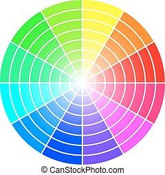roue, couleur, isolé, arrière-plan., vecteur, gabarit, blanc