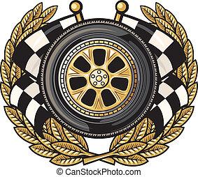 roue, couronne laurier