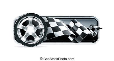 roue, courses, bannière, voiture