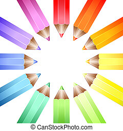 roue, crayons, couleur