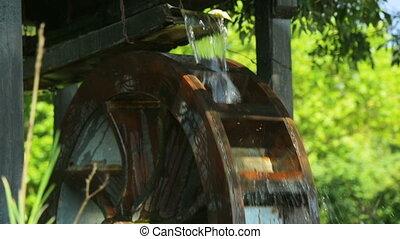 roue, décoration, eau