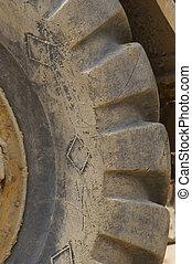 roue, détail, tracteur