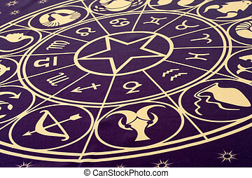 roue, de, zodiaque, symboles