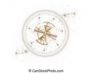 roue dentée, ancien, mécanisme, métallique
