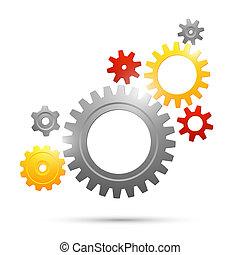 roue dentée, collaboration, connexion