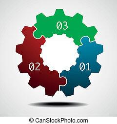 roue dentée, infographic, gabarit