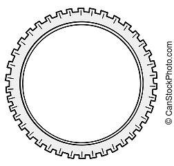 roue dentée, silhouette, fond blanc