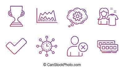 roue dentée, tasse, icônes, set., diagramme, récompense, commercer, vecteur, utilisateur, temps, mondiale, tique, signs., effacer