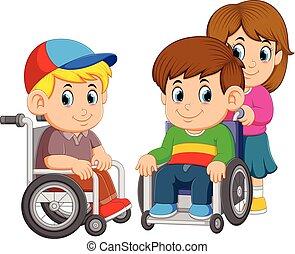 roue, deux, il, garçons, poussée, utilisation, girl, chaise