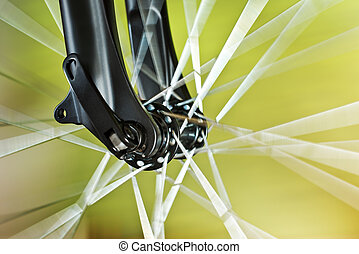 roue, devant, vélo, détail, nouveau