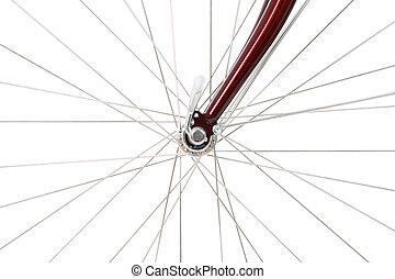 roue, devant, vélo, spokes