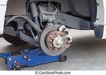 roue, disque, frein, détail, moyeu