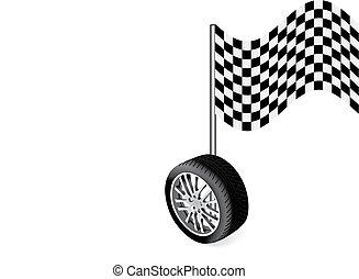 roue, drapeau, course, blanc, vecteur